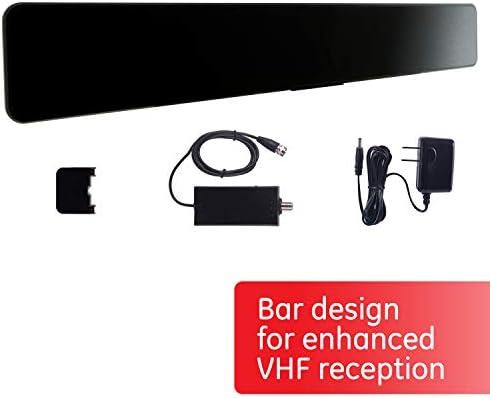 [해외]GE HD 바 실내 비디오 안테나  (33683) / GE Pro Bar Black Indoor TV Antenna, Modern Design, TV Antenna for Entertainment Center and Home Decor, Digital, HDTV Antenna, Smart TV Compatible, 4K 1080p VHF UHF, Coax Cable, Amplifier, 3369...