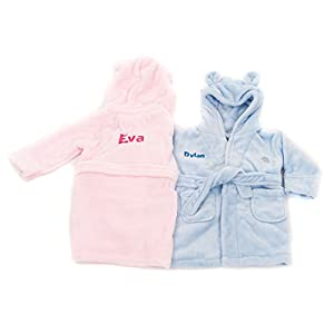 Hoolaroo Embroidered Personalised Soft Baby White Dressing Gown Bath Robe Teddy Ears Pink//Blue Text
