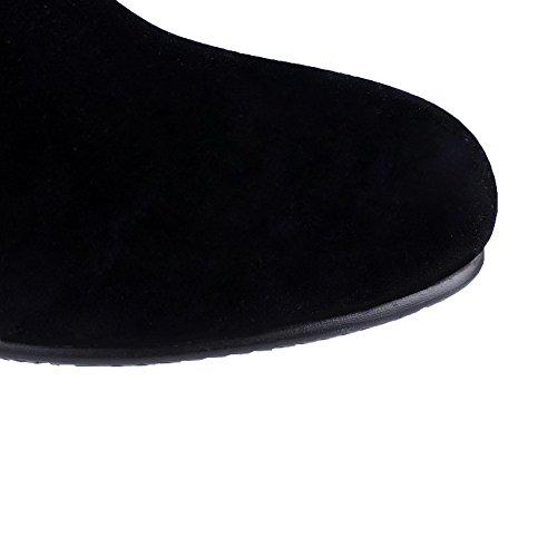 AllhqFashion Mujeres Sin cordones Puntera Redonda Tacón Medio Esmerilado Caña Media Botas Negro