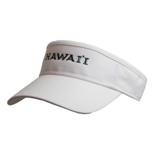 Hawaii White Brushed Bull Denim Visor 'Official Logo' by CollegeFanGear