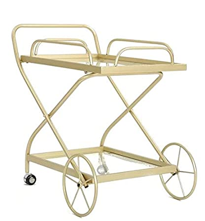 Amazon.com - Etha- Gold Iron Metal Frame Tempered Glass Top-Serving ...