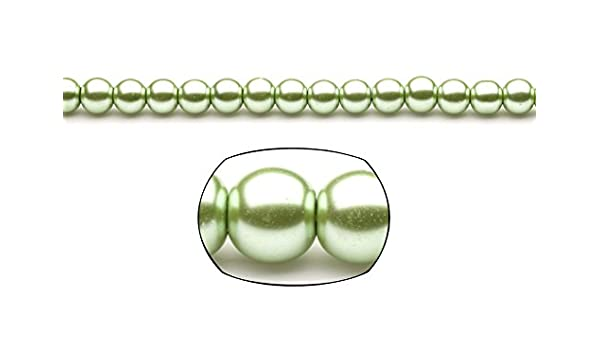 Amazoncom 8mm Oliver Green Round Glass Pearl 2x16inchpack 5packs