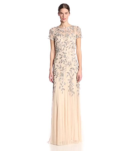 Adrianna Papell Women's Floral Beaded Godet Gown with Sheer Short Sleeves, Taupe/Pink, 18