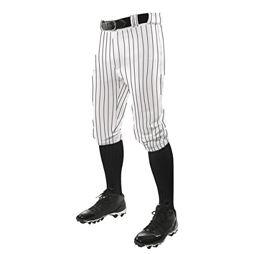 Baseball Pinstripe Jersey - CHAMPRO Youth Triple Crown Pinstripe Knicker, White/Black, Large