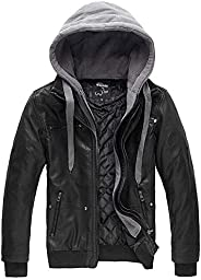 Wantdo Men's Leather Jacket with Removable