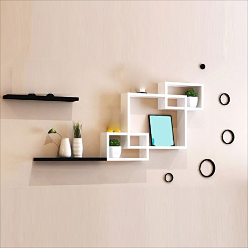 - ZH Shower Caddies Modern Wall Rack Free Punch Wall Hanging Living Room Bedroom TV Background Wall Decorative Wall Creative Simple Lattice Bookshelf Bedroom Partition Wall Cabinet