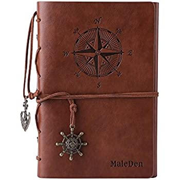 Leather Writing Journal Notebook, MALEDEN Spiral Daily Notepad Classic Embossed Travel Journal to Write in with Unlined Paper and Retro Pendants (Brown)
