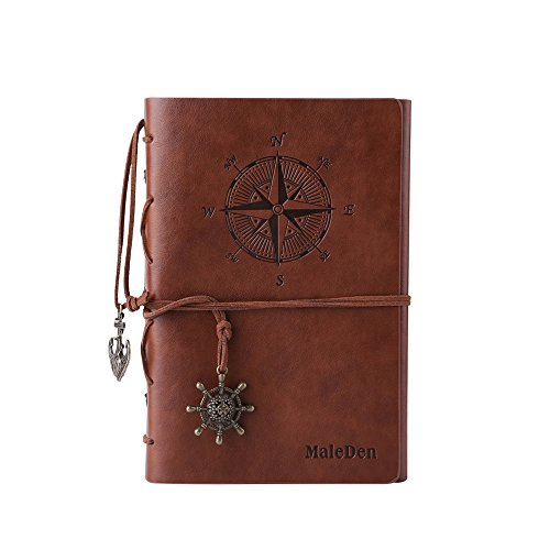 Leather Writing Journal Notebook, MALEDEN Spiral Daily Notepad Classic Embossed Travel Journal to Write in with Unlined Paper and Retro Pendants (Brow…
