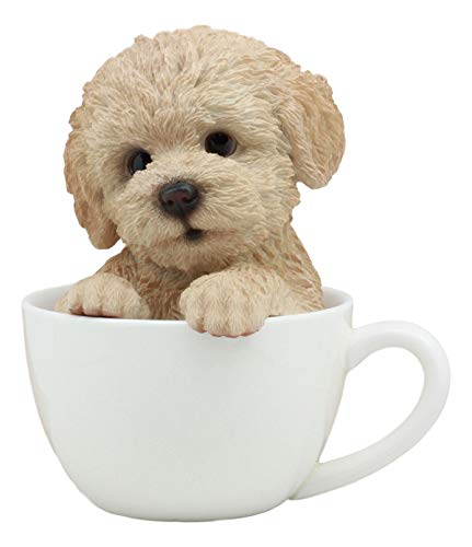 Ebros Realistic Adorable Brown Poodle Dog Teacup Statue 6