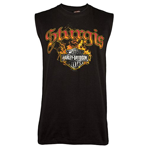 - Harley-Davidson Sturgis Men's Skull Edgy Black Sleeveless T-Shirt (X-Large)