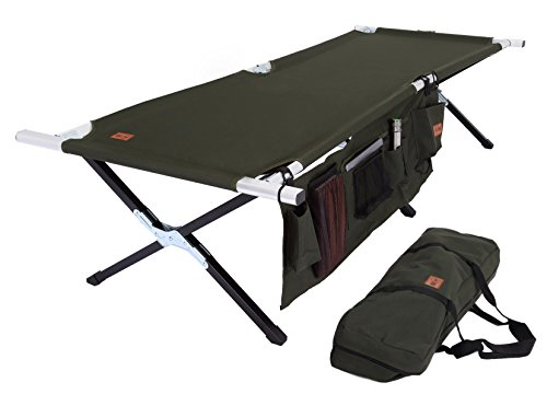 - Tough Outdoors Camp Cot [Large] with Free Organizer & Storage Bag - Military Style Folding Bed for Camping, Traveling, Hunting, and Backpacking - Lightweight, Heavy-Duty & Portable Cots for Adults