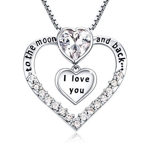 Ado Glo Christmas Day Gifts I Love You to The Moon and Back Engraved Heart Pendant Necklace, Fashion Jewelry for Women Girls, Birthday Thanksgiving Xmas Present for Girlfriend Wife Sister Grandma Mom