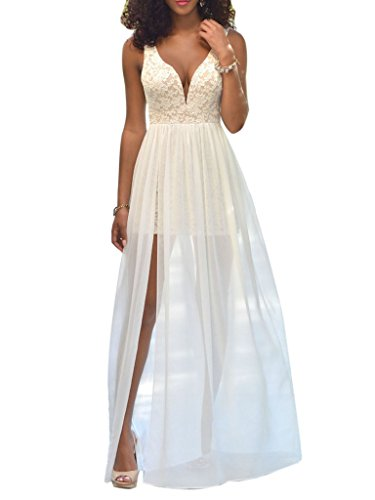 Clothink Women White V Neck Backless Sleevelss Lace Mesh Party Evening Dress L