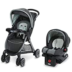 Experience the convenience of the one-second fold, with Graco's FastAction Fold Click Connect Travel System. This lightweight stroller features a one-second, one-hand fold, so that it's easy to fold up at a moment's notice, keeping your other...