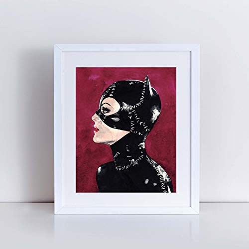 Catwoman Selina Kyle Art Print Watercolor Painting Wall Decor Cat Mask Halloween Costume Batman Returns Gotham Comic Canvas Gift for Him]()