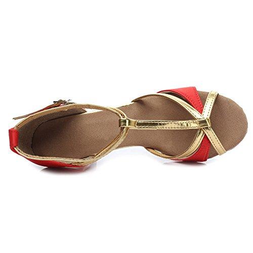 Satén De es estándar Modelo Latino Mujer Baile 255 Zapatos tacón Rojo Swdzm 5cm Ballroom Baile wE0q1E
