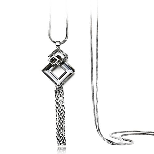 DuoTang Geometric Necklace Square Pendant Crystal Necklace 30