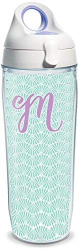 Tervis 1317331 INITIAL-M Teal Scallop Insulated Tumbler with Wrap and Lid, 24 oz Water Bottle - Tritan, Clear ()