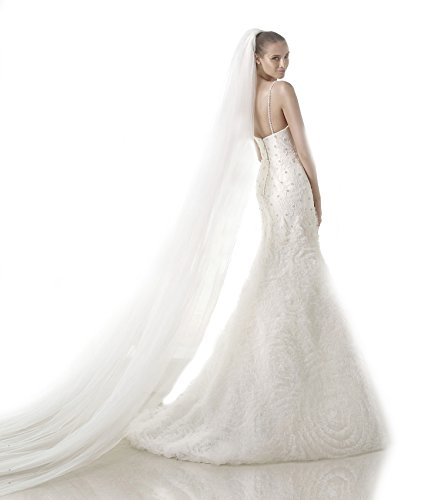 Top Sexy White 1 Tier 3M Cathedral Soft Tulle Plus Size Cathedral Wedding Bridal Veil 05