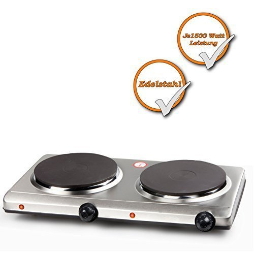 Stainless steel Double cooking plate (strong 3000Watt, electric 2 Plates Cooktop, 6 Heat levels) Doppel-Kochplatte_3000Watt