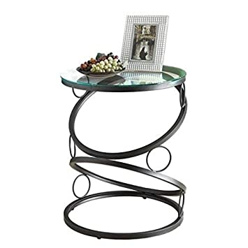 Monarch Specialties Metal Accent Table with Tempered Glass, Matte Black