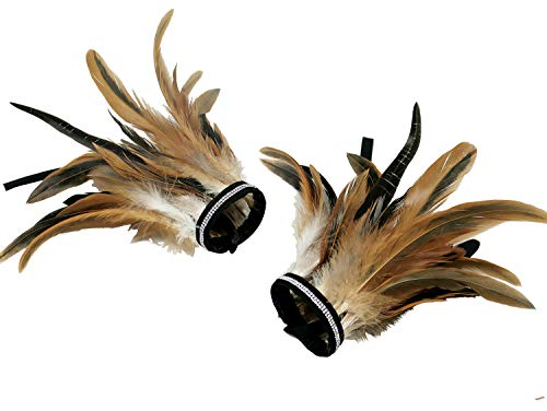 Owl Costumes For Adults (L'VOW Real Nature Feather Cuffs for Game Party Halloween Pack of 2 (X02-Nature)