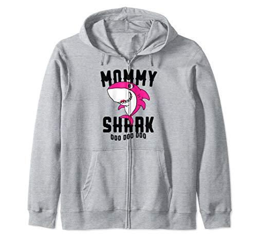 Mommy Shark For Mom Wife Grandma Halloween Christmas Gift Zip Hoodie