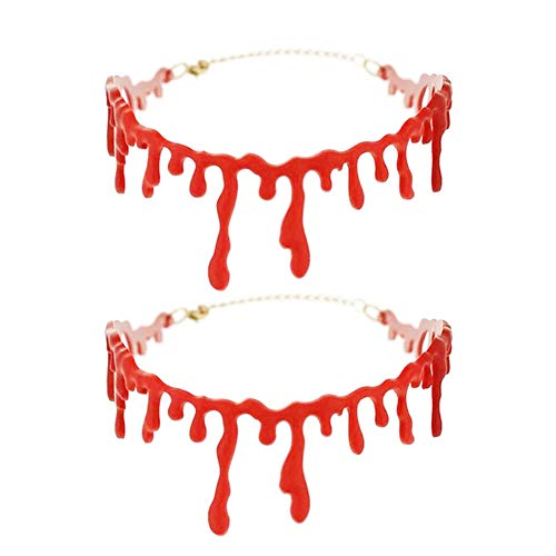 smallwoodi Halloween Necklace,Halloween Realistic Blood Dripping Stitch Choker