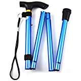 Folding Walking Stick, Adjustable Cane Aluminum Metal Collapsible Ergonomic Handle Lightweight Quick Locks Trail Poles with Non-Slip Rubber Base for Hiking Trekking Travel (Blue)