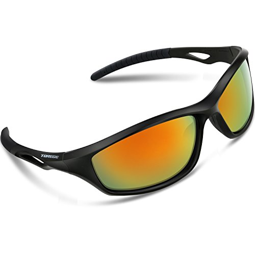 Torege Polarized Sports Sunglasses For Men Women For Cycling Running Fishing Golf TR90 Unbreakable Frame TR010-1 (Black&Balck Tips&Red - Sunglasses Polarized Fishing Good For