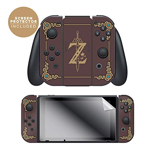 Controller Gear Nintendo Switch Skin & Screen Protector Set, Officially Licensed By Nintendo - The Legend of Zelda: Breath of the Wild: Sheikah Slate - Joy-Con Only - Nintendo Switch