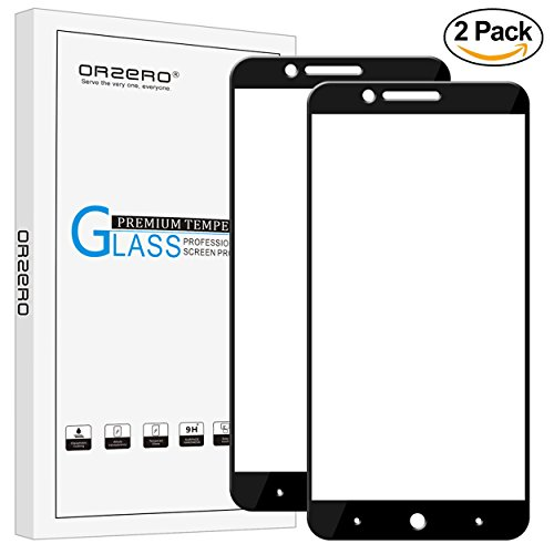[2 Pack] Orzero For ZTE Blade Z Max / Z982 / Zmax Pro 2 / ZTE Sequoia Blade Tempered Glass Screen Protector, [ Full Coverage ] 2.5D Arc Edges 9 Hardness HD [Lifetime Replacement Warranty]-Black