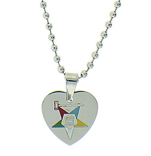 Eastern Star Symbol (Order of the Eastern Star Heart Shaped Pendant - Silver Color Steel with OES Symbol Necklace)