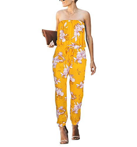 OMEYA Women Jumpsuit Strapless Off Shoulder Elastic Waist Beam Foot Casual Party Playsuit Romper Long Pants with Pockets Yellow Floral