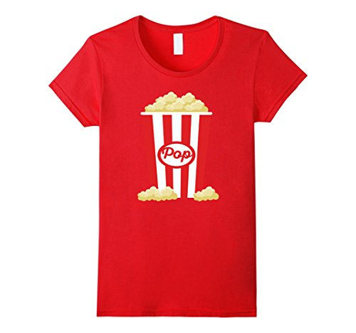 Women's Popcorn - Funny Last Minute Halloween Costume T-Shirt Small Red -