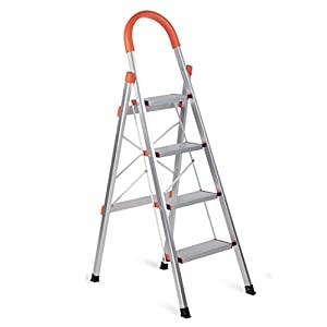 Aluminum Step Ladder Lightweight Multi Purpose Portable Folding Home Ladder 4 Step
