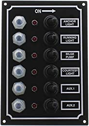 Seasense Led Switch Panel 6 Gang with Breaker and Rubber Boots