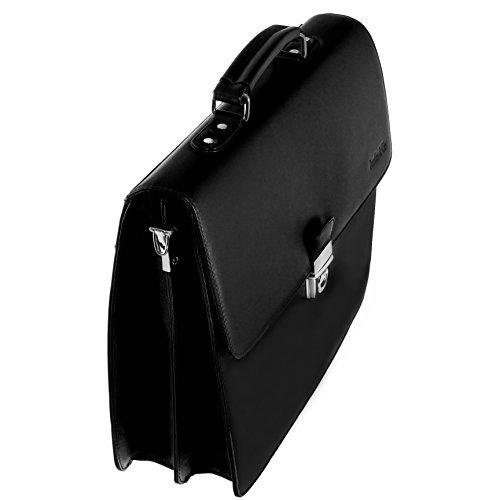 Boudier & Cie Hombre Maletín Bolso de negocios tipo bandolera de una sola asa Cuero negro - BBG1 Negro