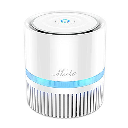 Air Purifier, Mooka Desktop Air Cleaner with True HEPA Filter,Compact Home Air Cleaner for Rooms and Offices, Removes Allergens, Home Air Filtration for Removing Pet, Smoking and Cooking Smells