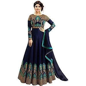 Smily Creation Women's Banglori Silk Salwar Suit (dulhan blue_Blue_Free Size)