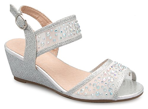OLIVIA K Girl's Peep Toe Rhinestone Ankle Strap with Adjustable Buckle Wedge Sandals - Adorable, Comfort, Casual by OLIVIA K