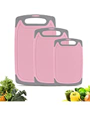 Cutting Boards Kitchen Cutting Board (3-Piece Set) Chopping Boards- Plastic Cutting Boards Set, Juice Grooves, BPA-Free and Dishwasher Safe