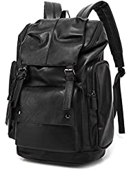BAOSHA BP-16 PU Leather Casual Backpack College Backpack Daypack Black