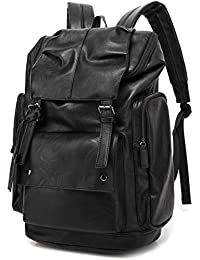 BP-16 PU Leather Casual Backpack College Backpack Daypack Black