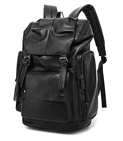 BAOSHA BP-16 PU Leather OVERSIZED Casual Backpack College Backpack Daypack Black
