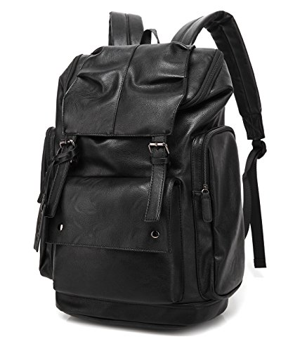 - BAOSHA BP-16 PU Leather Casual Backpack College Backpack Daypack Black