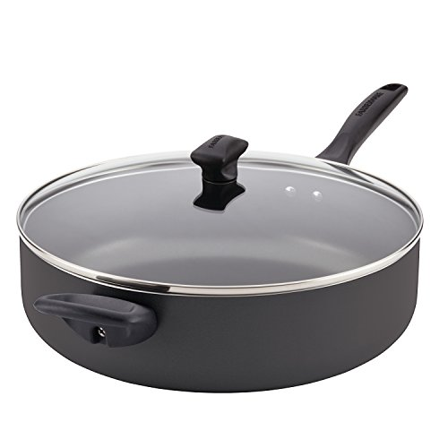 Non Stick Covered Skillet (Farberware Dishwasher Safe Nonstick Aluminum Covered Jumbo Cooker with Helper Handle, 6-Quart, Black)