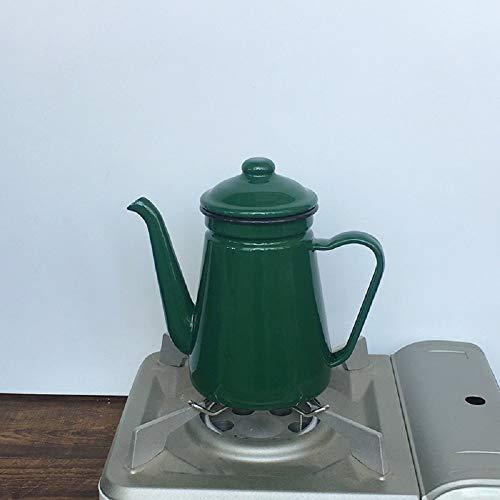 Camping Outdoors Coffee Pot,Hand Drip Enamel Tea Coffee Pot Kettle Boiler Oil & Vinegar Cruet (coffee pot Green)