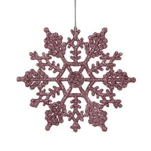 Vickerman Plastic Snowflake, 4-Inch, Pink, 24 Per ()
