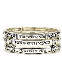 Footprints in the Sand.. Matthew 8:19 Inspirational Multi Layer Stretch Bracelet by Jewelry Nexus